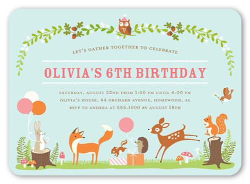 Gathering Forest Birthday Invitation, Square