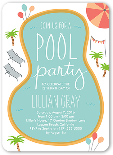 Birthday pool party 5x7 boy birthday invitations shutterfly front stopboris Image collections