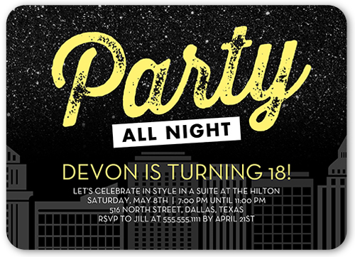 All Night Party Birthday Invitation, Rounded Corners