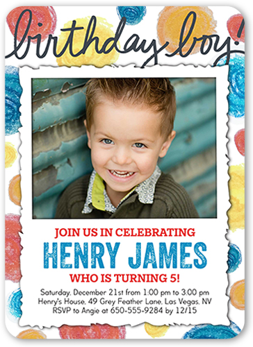 Dotty Birthday Boy Birthday Invitation, Rounded Corners