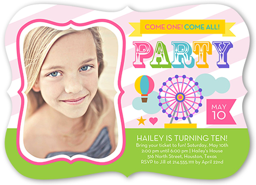 Come One Come All Girl Birthday Invitation, Bracket Corners