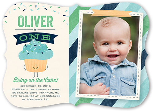 Bring On Cake Boy Birthday Invitation, Bracket Corners