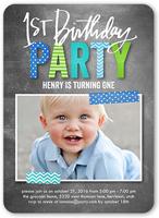 preppy patterned boy birthday invitation 5x7 flat