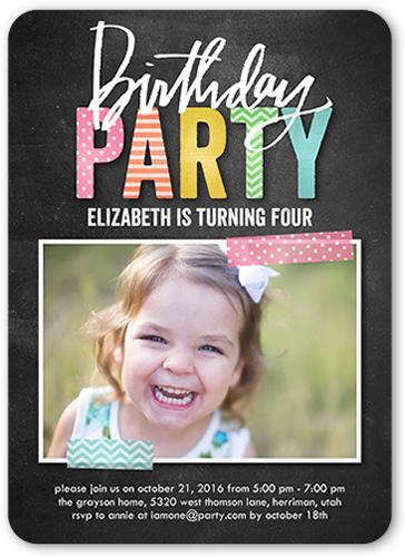 Preppy Party Girl Birthday Invitation