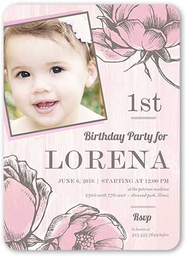 Floral First Birthday Invitation, Rounded Corners