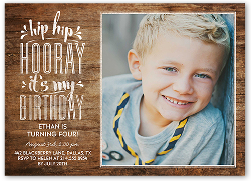 Hip Hop Hooray Boy Birthday Invitation 5x7 Flat