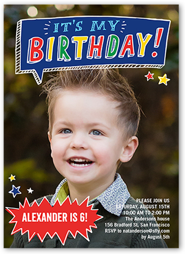 Talk Bubble Fun X Stationery Boy Birthday Invitations Shutterfly - Birthday invitation messages for 5 year old boy