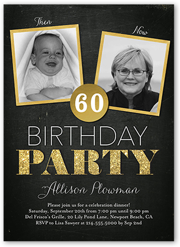 Then And Now Frames Surprise Birthday Invitation