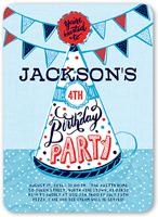 party hat fun boy birthday invitation 5x7 flat