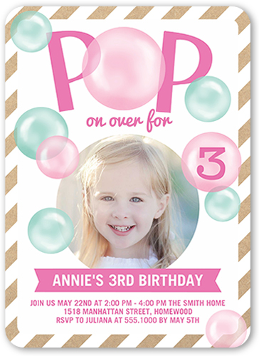 Pop On Over Girl Birthday Invitation, Rounded Corners