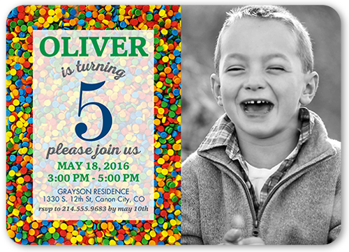 Sprinkles Galore Boy Birthday Invitation, Rounded Corners