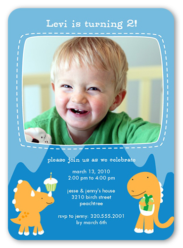 Partysaurus Blue Birthday Invitation