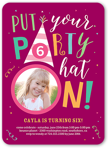 Party Hat Girl Birthday Invitation, Rounded Corners