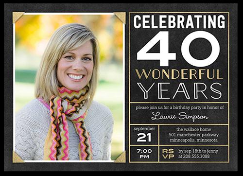 Framed Celebration Birthday Invitation, Square Corners