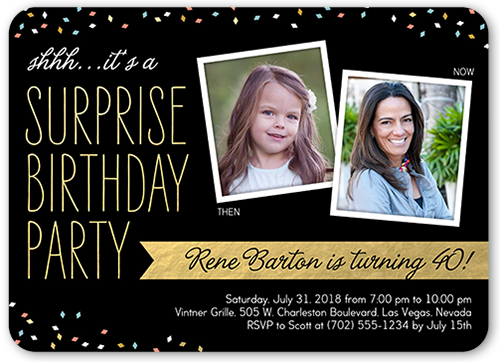 Surprise Confetti Birthday Invitation
