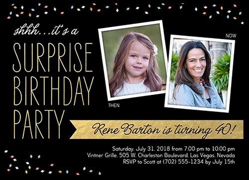 Surprise Confetti Birthday Invitation, Rounded Corners