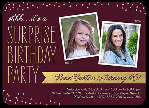 Surprise Confetti Birthday Invitation, Square