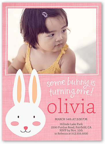 Some Bunny Girl First Birthday Invitation Shutterfly