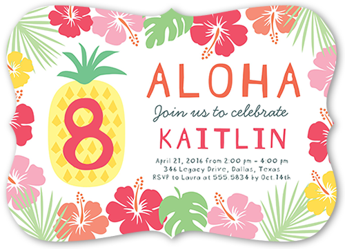 Aloha Celebration Birthday Invitation, Bracket Corners