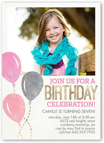 Balloon Celebration Girl 5x7 Girls Birthday Party Invitations