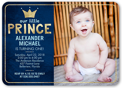 Our little prince boy first birthday invitation shutterfly front filmwisefo
