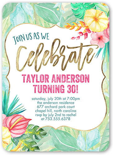 Floral Celebration Surprise Birthday Invitation Shutterfly
