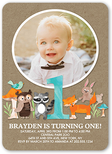 Animal Festivities Boy Birthday Invitation 5x7 Flat