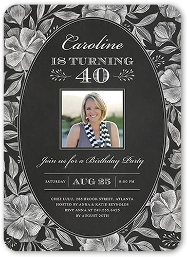 Chalked Flowers Birthday Invitation, Square