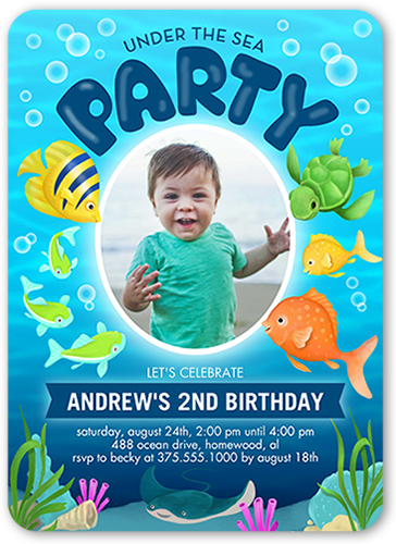 oceanic party 5x7 stationery boy birthday invitations shutterfly