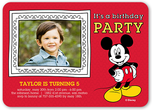 Disney Mickey Mouse Frame Birthday Invitation, Rounded Corners