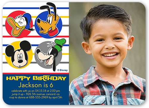 Disney Mickey and Friends Dots Birthday Invitation, Rounded Corners