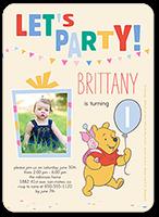 disney winnie the pooh balloon birthday invitation 5x7 flat