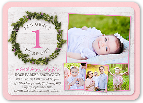 It's A Great One Birthday Invitation, Rounded Corners