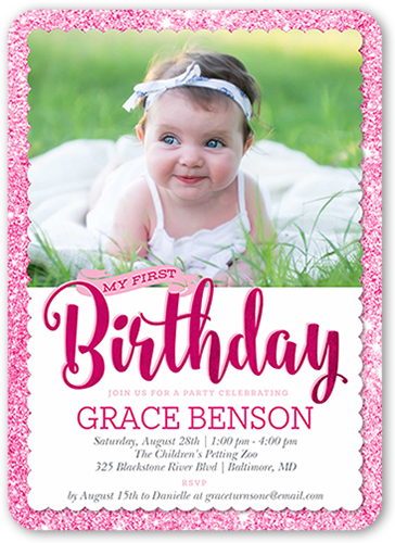 Shimmering Party Girl Birthday Invitation, Rounded Corners