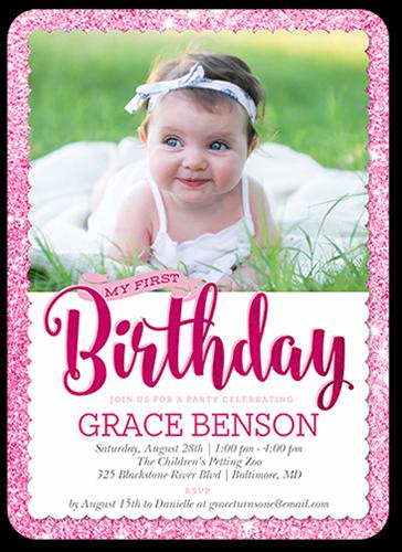 Shimmering Party Girl Birthday Invitation, Square
