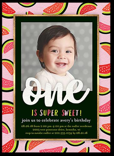 Watermelon Border Birthday Invitation, Square Corners