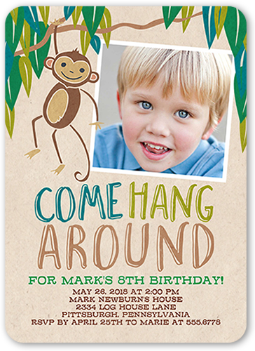 Come Hang Around Birthday Invitation, Rounded Corners