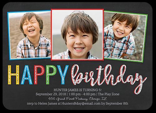 Happy Frames Boy Birthday Invitation, Rounded Corners