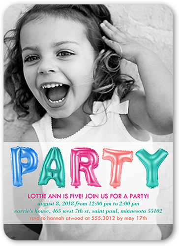 Party Balloons Girl Birthday Invitation, Rounded Corners