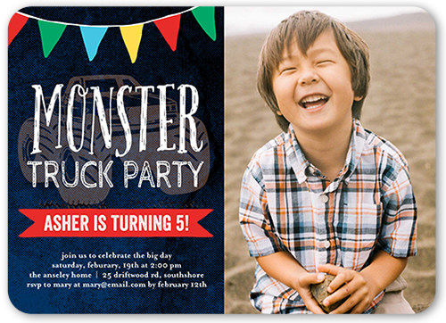 Monster Truck Party Birthday Invitation, Rounded Corners