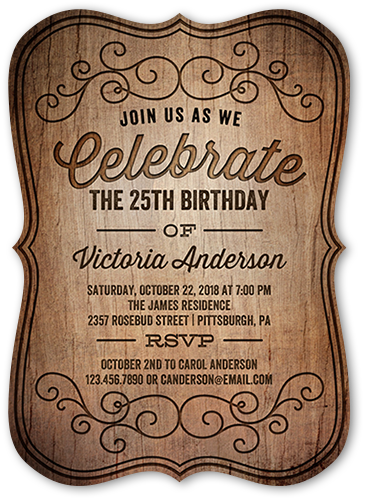 Engraved Party Birthday Invitation