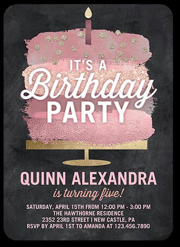 Glimmering Cake Birthday Invitation 5x7 Flat