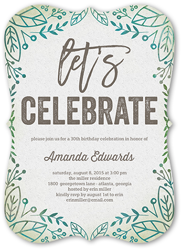 Organic Celebration Birthday Invitation, Bracket Corners