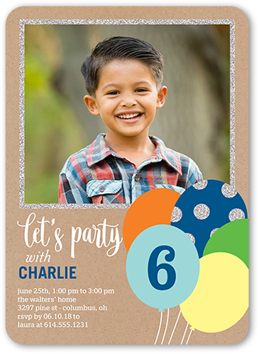Balloon Bouquet Boy Birthday Invitation, Rounded Corners