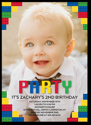 Terrific Party Blocks Birthday Invitation, Square Corners