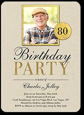 classic woodgrain birthday invitation 5x7 flat