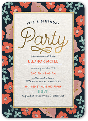 darling floral border birthday invitation another year older