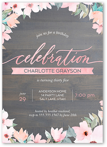 Elegant Woodgrain Birthday Invitation, Square Corners