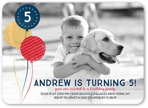 Glimmering Party Boy Birthday Invitation, Rounded Corners