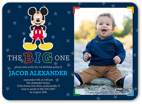 Disney Mickey Mouse One Birthday Invitation 5x7 Flat